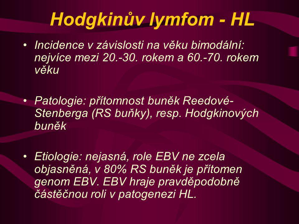 Hodgkinův lymfom - HL Incidence v závislosti na věku bimodální: nejvíce mezi 20.-30. rokem a 60.-70. rokem věku Patologie: přítomnost buněk Reedové- S