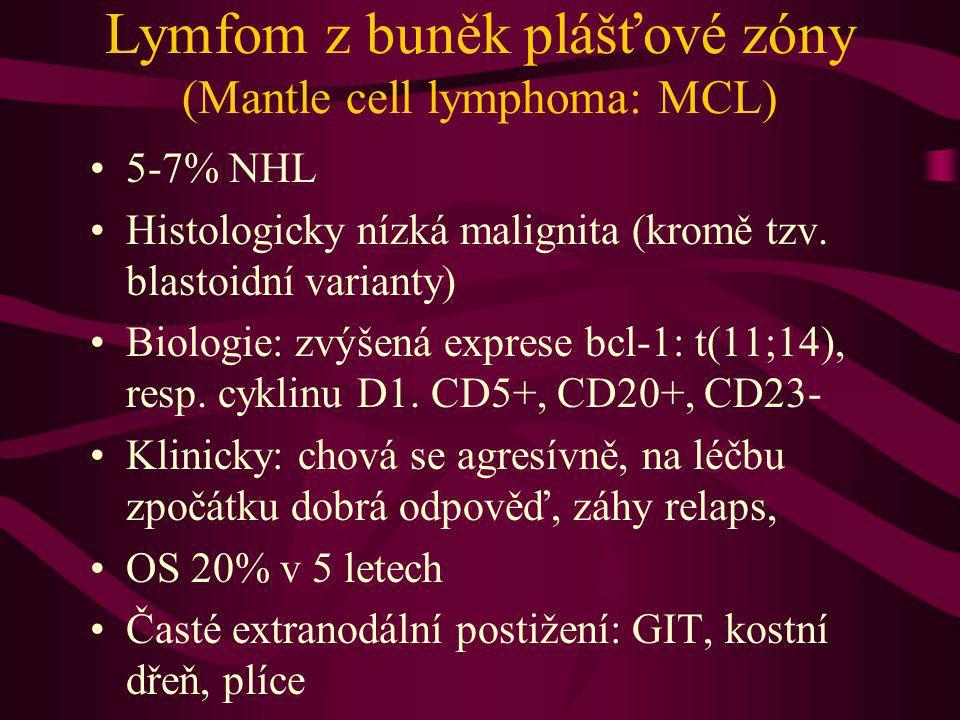Lymfom z buněk plášťové zóny (Mantle cell lymphoma: MCL) 5-7% NHL Histologicky nízká malignita (kromě tzv. blastoidní varianty) Biologie: zvýšená expr