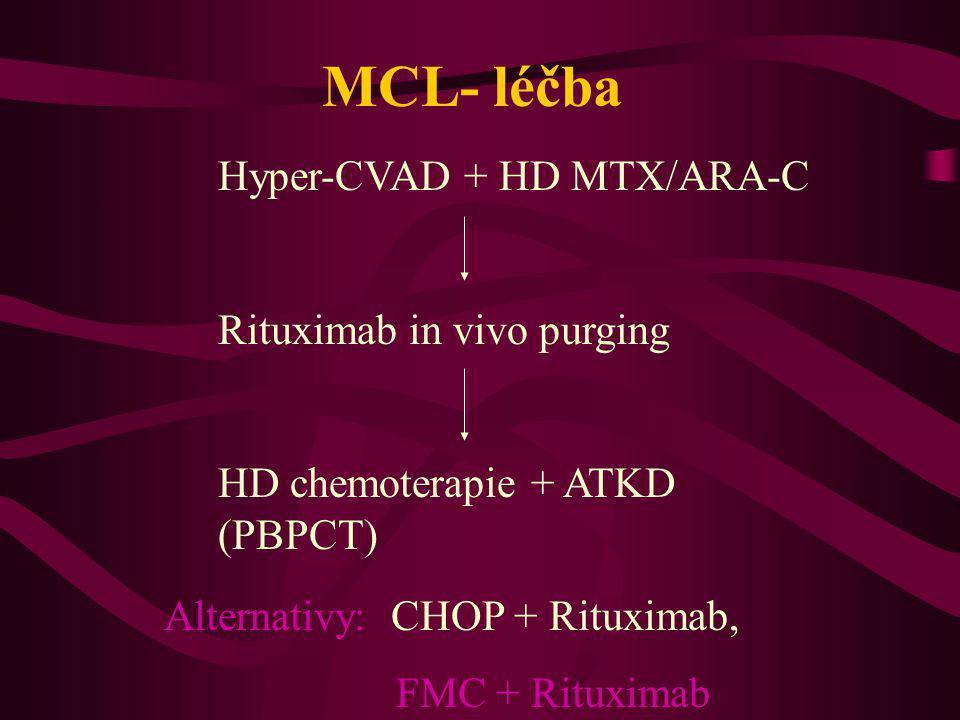 MCL- léčba Hyper-CVAD + HD MTX/ARA-C Rituximab in vivo purging HD chemoterapie + ATKD (PBPCT) Alternativy: CHOP + Rituximab, FMC + Rituximab