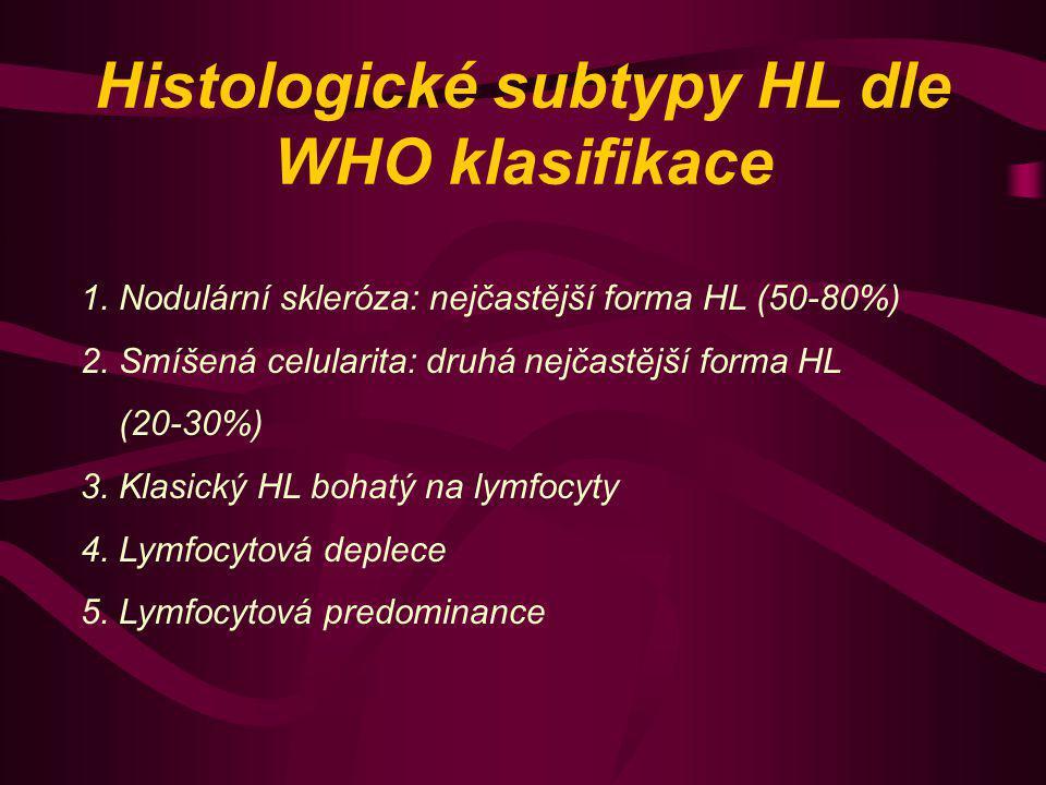 Histologické subtypy HL dle WHO klasifikace 1. Nodulární skleróza: nejčastější forma HL (50-80%) 2. Smíšená celularita: druhá nejčastější forma HL (20