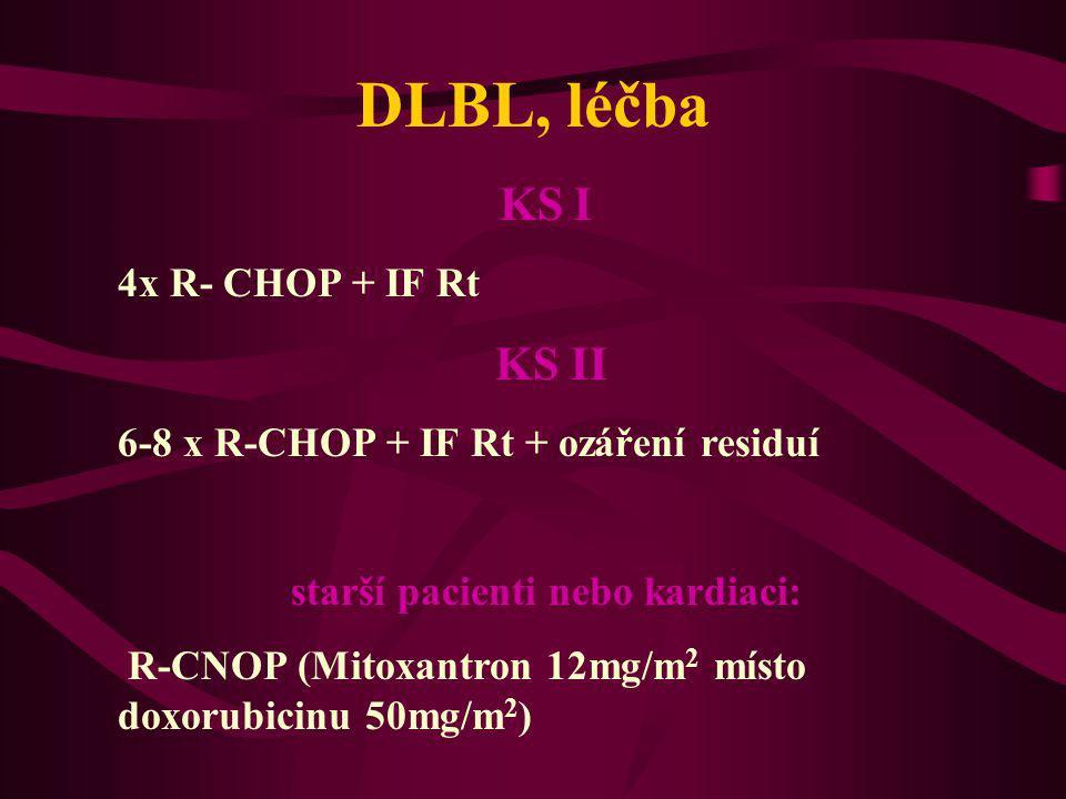 DLBL, léčba KS I 4x R- CHOP + IF Rt KS II 6-8 x R-CHOP + IF Rt + ozáření residuí starší pacienti nebo kardiaci: R-CNOP (Mitoxantron 12mg/m 2 místo dox