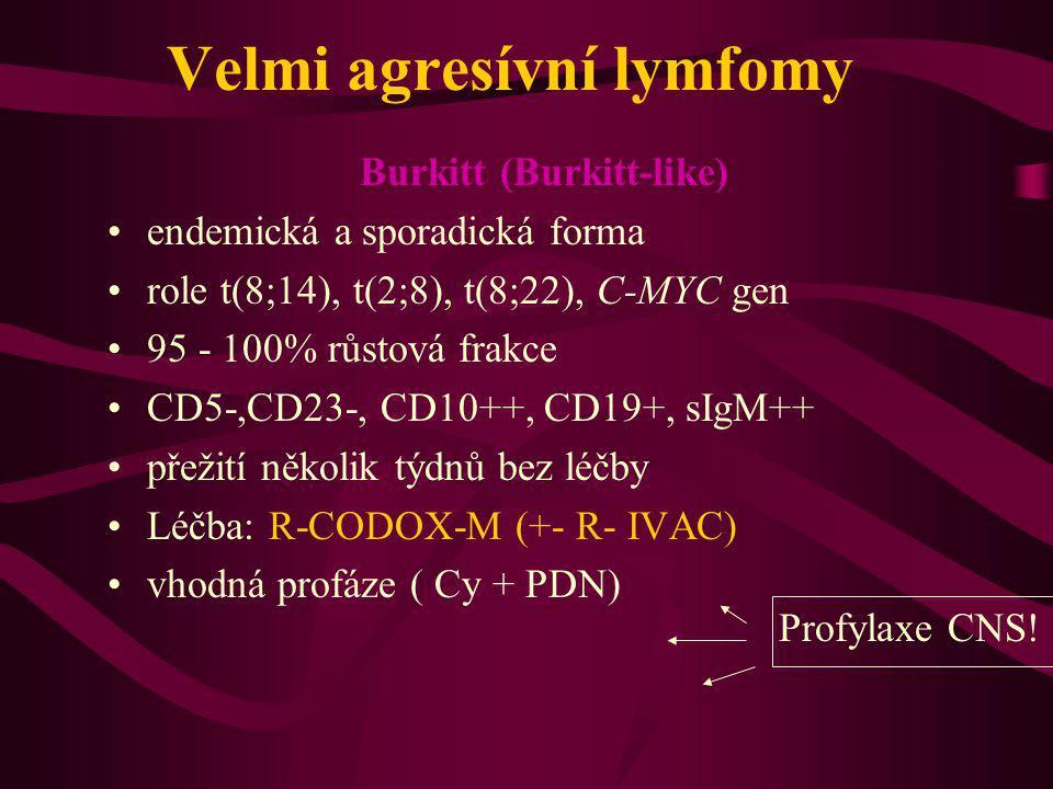 Velmi agresívní lymfomy Burkitt (Burkitt-like) endemická a sporadická forma role t(8;14), t(2;8), t(8;22), C-MYC gen 95 - 100% růstová frakce CD5-,CD2