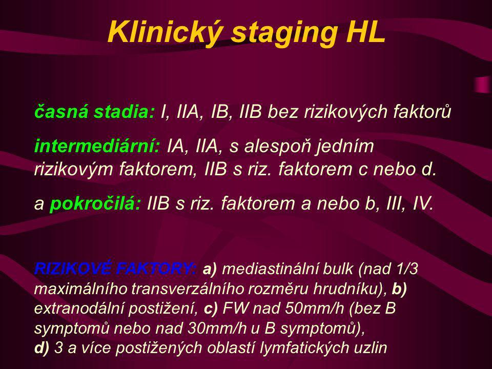 Léčba HL a) časná stadia: chemoterapie 2 x ABVD + radioterapie IF 30 Gy b) intermedární stadia: chemoterapie 4 x ABVD + Rt IF 30 Gy c) pozdní stadia: chemoterapie eskalovaný BEACOPP x 8 +- Rt dle PET ABVD: Adriamycin, Blemocyin, Vinblastin, Dakarbazin BEACOPP: Bleomycin, etoposid, Adriamycin, Cyklofosfamid, Vincristin, Prokarbazin, Prednison Prognóza: vyléčení v 70 - 90 % Komplikace: možné sekundární malignity za řadu let po ukončení léčby.