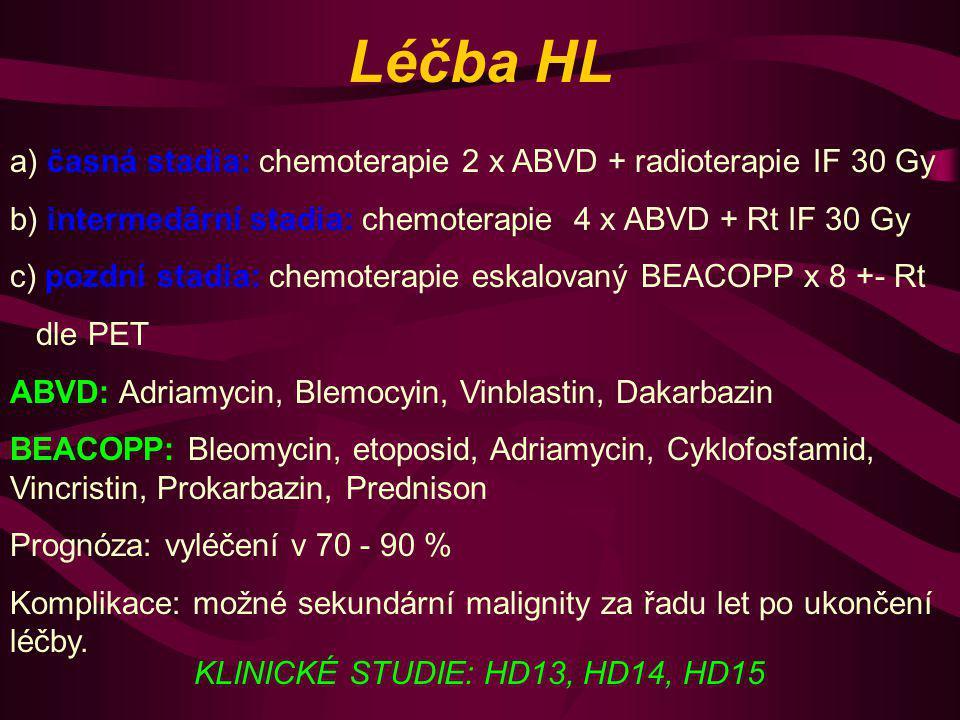 Léčba HL a) časná stadia: chemoterapie 2 x ABVD + radioterapie IF 30 Gy b) intermedární stadia: chemoterapie 4 x ABVD + Rt IF 30 Gy c) pozdní stadia: