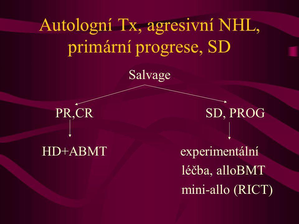 Autologní Tx, agresivní NHL, primární progrese, SD Salvage PR,CR SD, PROG HD+ABMT experimentální léčba, alloBMT mini-allo (RICT)