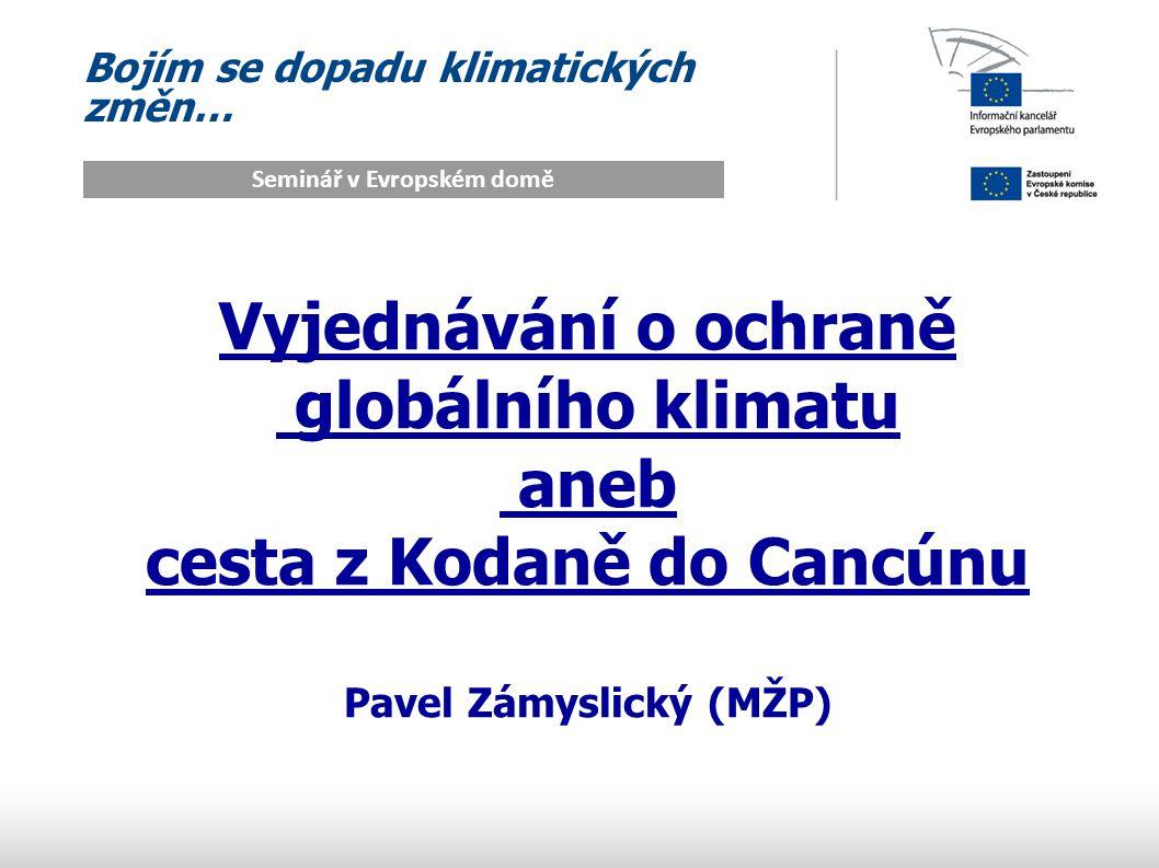 Bojím se dopadu klimatických změn… Seminář v Evropském domě Vyjednávání o ochraně globálního klimatu aneb cesta z Kodaně do Cancúnu Pavel Zámyslický (MŽP)