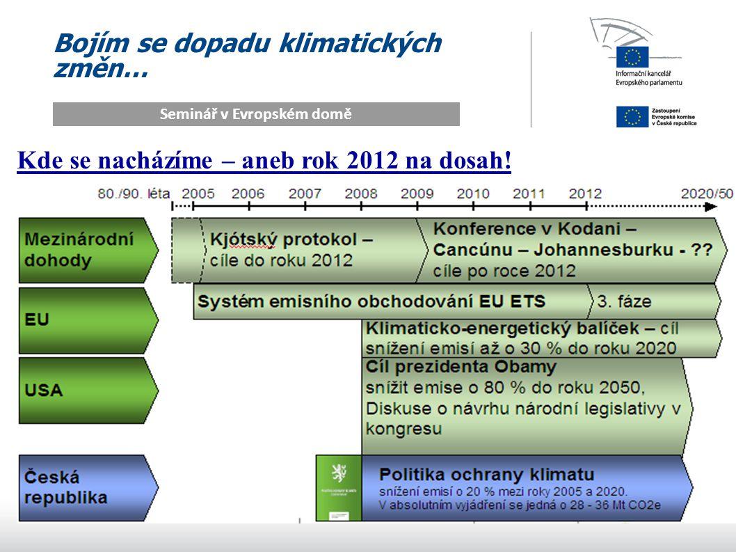 Bojím se dopadu klimatických změn… Seminář v Evropském domě Kde se nacházíme – aneb rok 2012 na dosah!