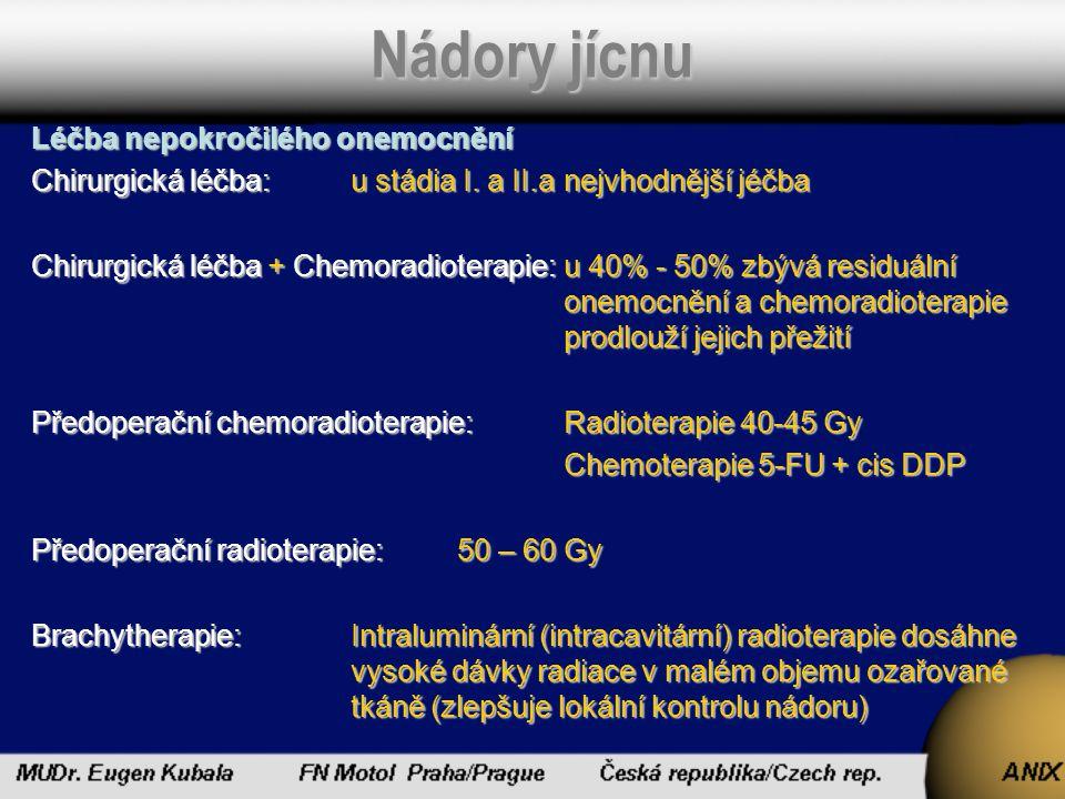 Nádory jícnu Léčba pokročilého onemocnění -Léčba paliativní:Lokální léčba RadioterapieChemoradioterapie Chemoterapie – 5FU, cisDDP, Taxol, Irinotecan Photodynamická terapie – pomocí Photofrínu a argonového laseru odstraňuje dysfagii u pokročilého nálezu Experimentální léčba – Inhibitory protein kinásy C (bryostatin) kinásy C (bryostatin)