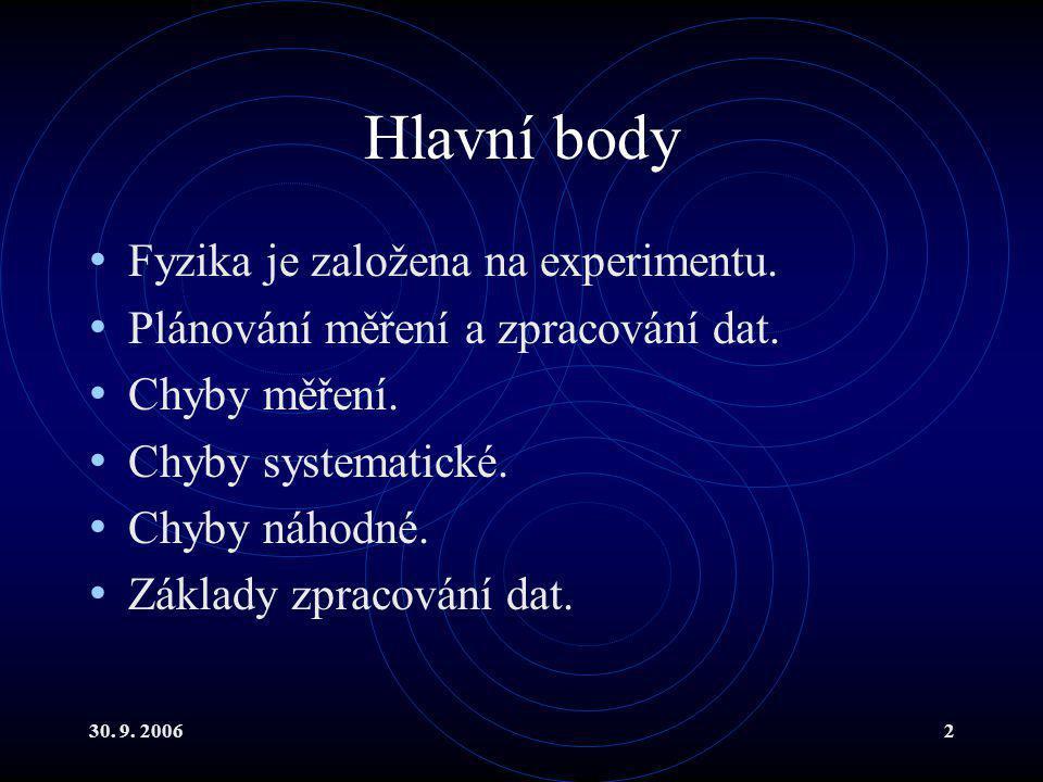 30. 9. 20062 Hlavní body Fyzika je založena na experimentu.