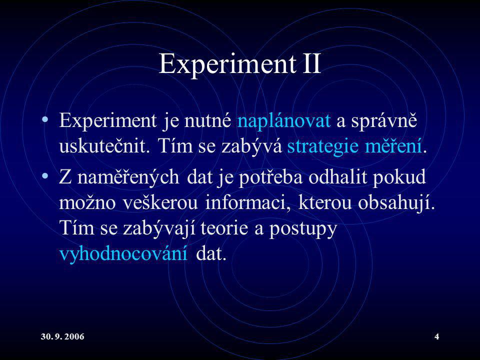 30. 9. 20064 Experiment II Experiment je nutné naplánovat a správně uskutečnit.