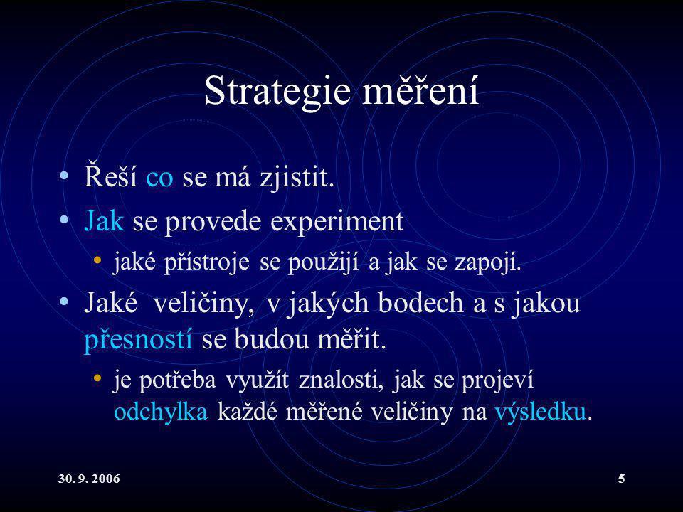 30. 9. 20065 Strategie měření Řeší co se má zjistit.