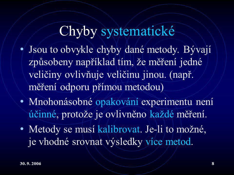 30.9. 20068 Chyby systematické Jsou to obvykle chyby dané metody.