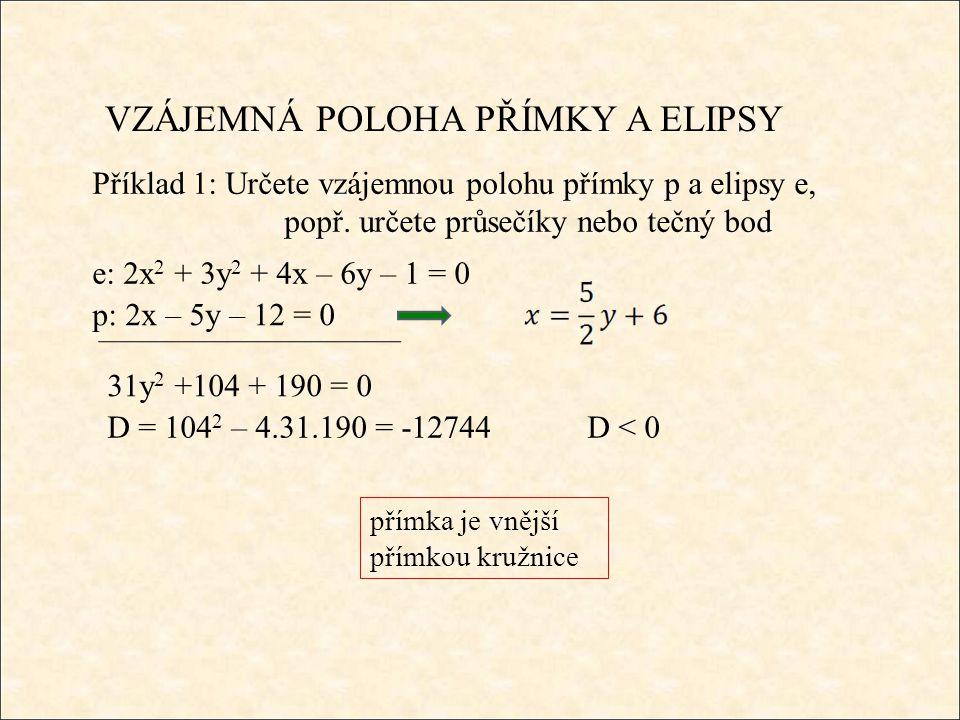 VZÁJEMNÁ POLOHA PŘÍMKY A ELIPSY Příklad 1: Určete vzájemnou polohu přímky p a elipsy e, popř.