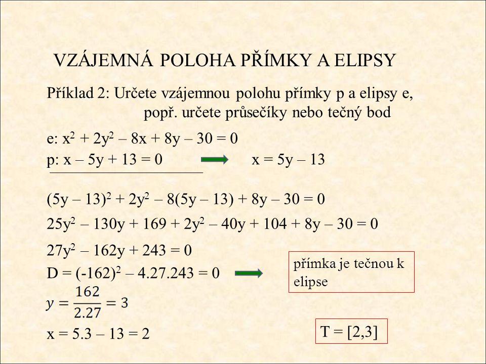 VZÁJEMNÁ POLOHA PŘÍMKY A ELIPSY Příklad 2: Určete vzájemnou polohu přímky p a elipsy e, popř.