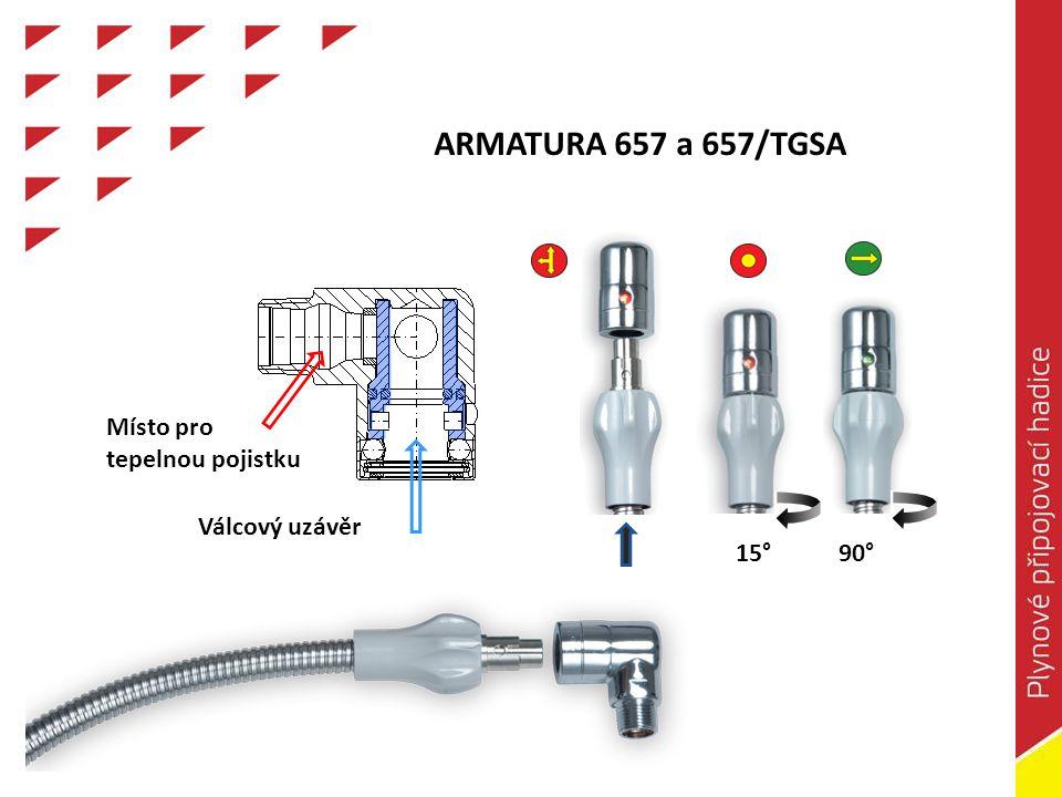 ARMATURA 657 a 657/TGSA Místo pro tepelnou pojistku Válcový uzávěr 15° 90°