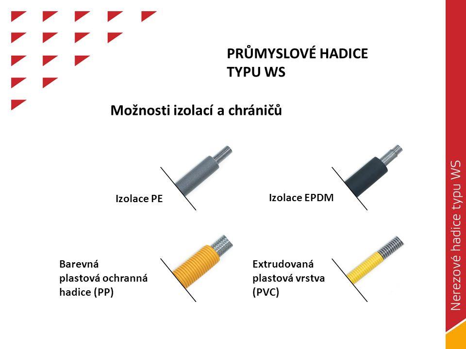 PRŮMYSLOVÉ HADICE TYPU WS Izolace PE Izolace EPDM Extrudovaná plastová vrstva (PVC) Barevná plastová ochranná hadice (PP) Možnosti izolací a chráničů