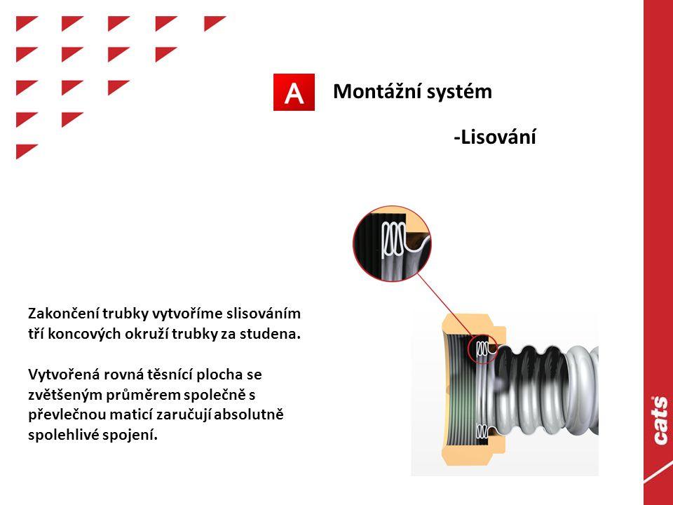 Montážní systém -Lisování Zakončení trubky vytvoříme slisováním tří koncových okruží trubky za studena.