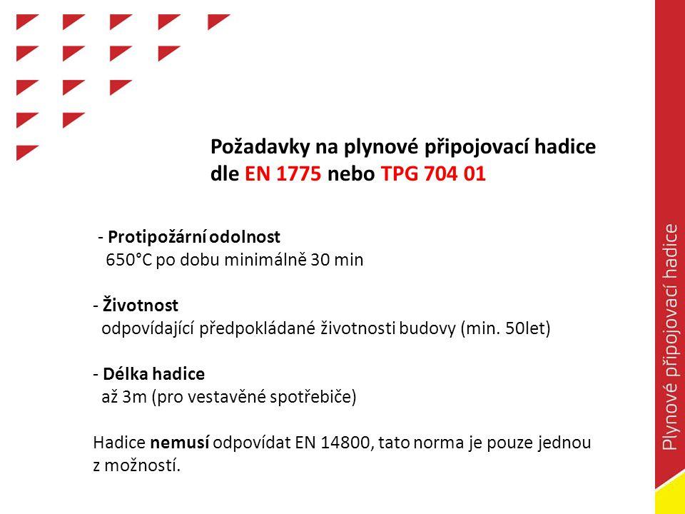Požadavky na plynové připojovací hadice dle EN 1775 nebo TPG 704 01 - Protipožární odolnost 650°C po dobu minimálně 30 min - Životnost odpovídající předpokládané životnosti budovy (min.