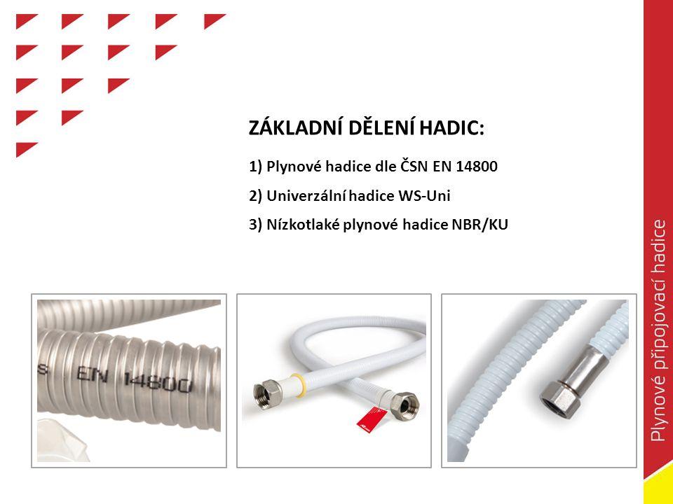 MATERIÁL VNITŘNÍ A VNĚJŠÍ OCHRANNÉ HADICE WS-Uni Vnitřní hadice: Nerezový vlnovec Opláštění: PVC NBR/KU Vnitřní hadice: Pryž Ochranná hadice: Pozinkovaná ocel Opláštění: PVC Ochranná hadice: Nerezová ocel Vnitřní hadice: Nerezový vlnovec Opláštění: PVC VA/VA-CE