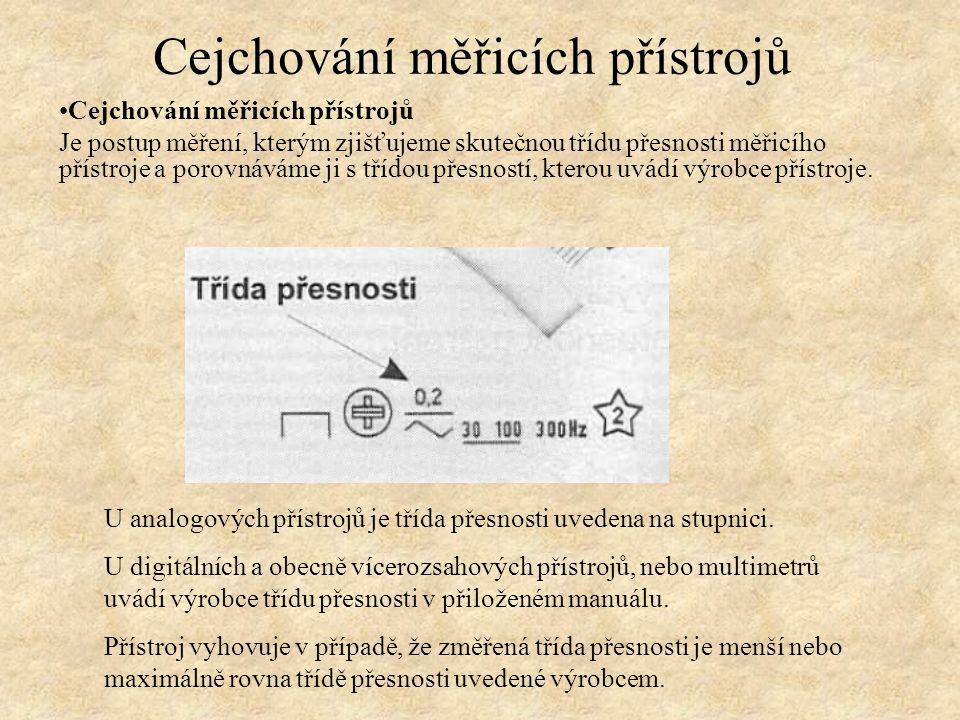 Třída přesnosti, definice Jedná se o největší relativní chybu přístroje na zvoleném rozsahu: ∆ max je mezní (maximální) absolutní chyba X R největší hodnota měřicího rozsahu Česká státní norma určuje vyvolenou řadu hodnot tříd přesností MP: 0,05 – 0,1 – 0,2 – 0,5 – 1 – 1,5 – 2,5 – 5.