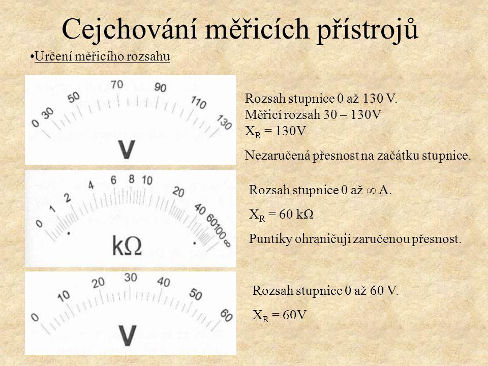 Určení měřicího rozsahu Rozsah stupnice 0 až 130 V. Měřicí rozsah 30 – 130V X R = 130V Nezaručená přesnost na začátku stupnice. Rozsah stupnice 0 až ∞