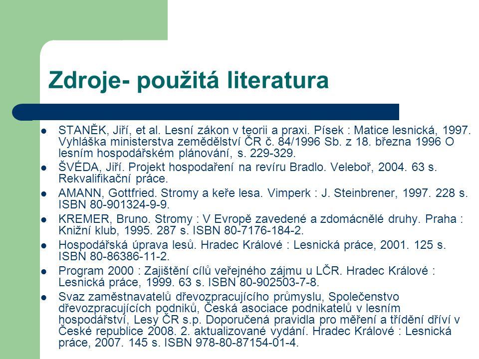 Zdroje- použitá literatura STANĚK, Jiří, et al.Lesní zákon v teorii a praxi.