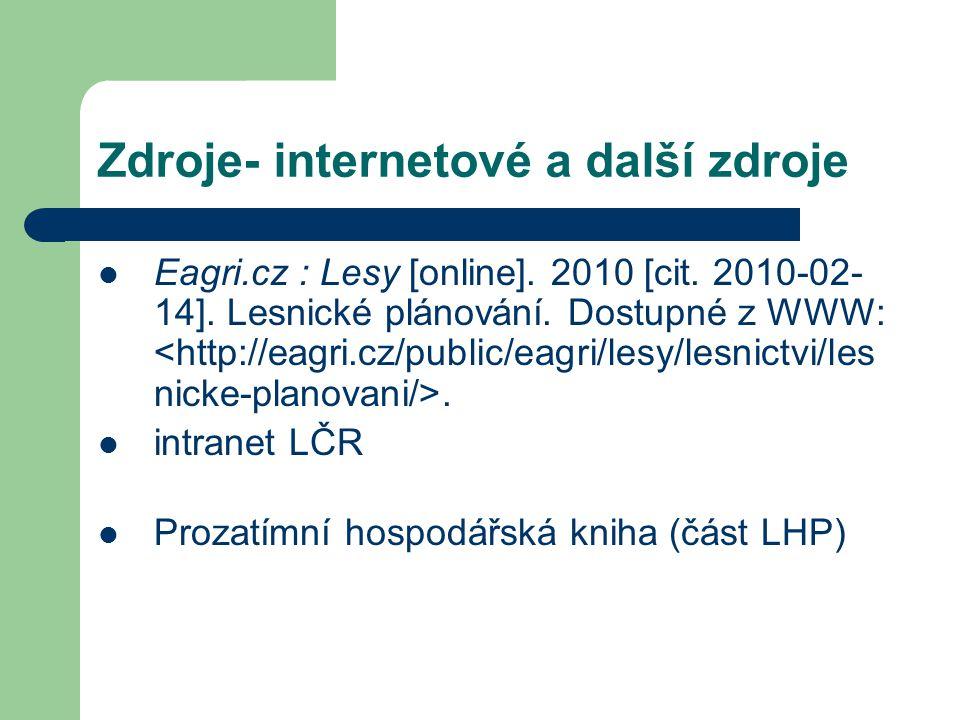 Zdroje- internetové a další zdroje Eagri.cz : Lesy [online].