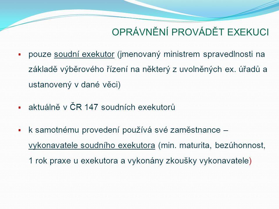 OPRÁVNĚNÍ PROVÁDĚT EXEKUCI  pouze soudní exekutor (jmenovaný ministrem spravedlnosti na základě výběrového řízení na některý z uvolněných ex. úřadů a