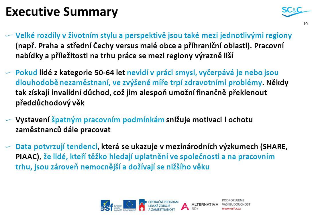 10 Executive Summary Velké rozdíly v životním stylu a perspektivě jsou také mezi jednotlivými regiony (např. Praha a střední Čechy versus malé obce a
