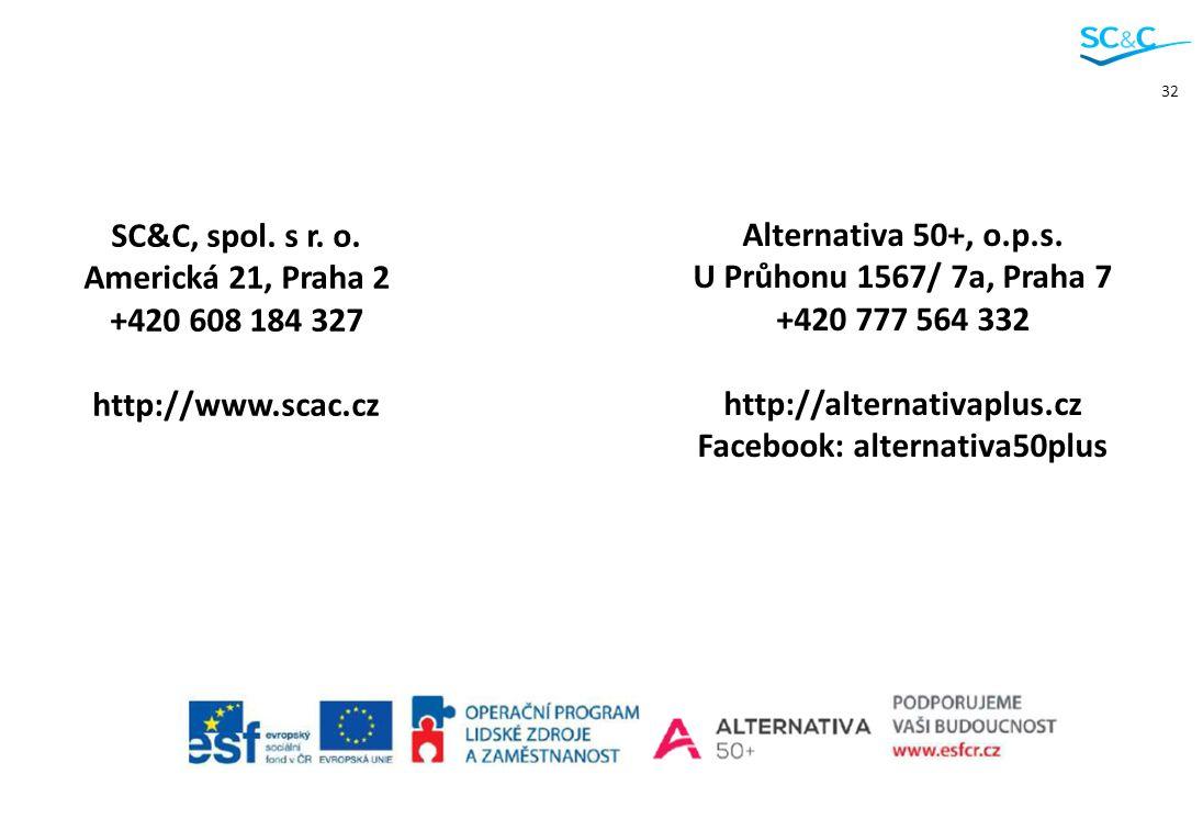 32 Alternativa 50+, o.p.s. U Průhonu 1567/ 7a, Praha 7 +420 777 564 332 http://alternativaplus.cz Facebook: alternativa50plus SC&C, spol. s r. o. Amer