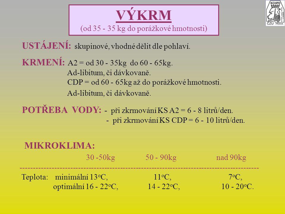 VÝKRM (od 35 - 35 kg do porážkové hmotnosti) USTÁJENÍ: skupinové, vhodné dělit dle pohlaví. KRMENÍ: A2 = od 30 - 35kg do 60 - 65kg. Ad-libitum, či dáv