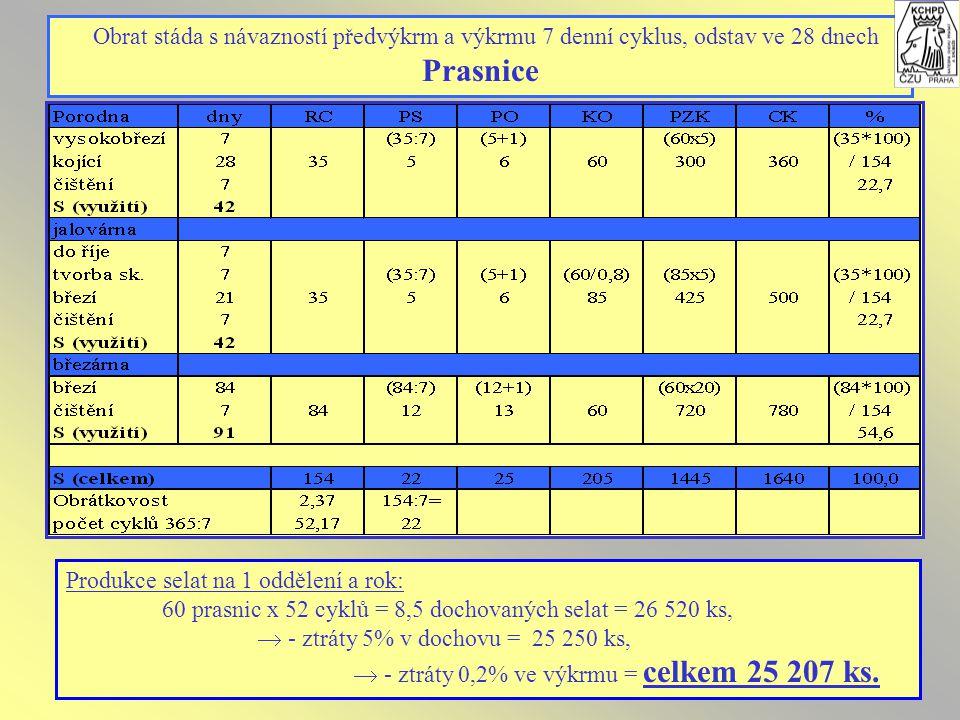 Obrat stáda s návazností předvýkrm a výkrmu 7 denní cyklus, odstav ve 28 dnech Prasnice Produkce selat na 1 oddělení a rok: 60 prasnic x 52 cyklů = 8,5 dochovaných selat = 26 520 ks,  - ztráty 5% v dochovu = 25 250 ks,  - ztráty 0,2% ve výkrmu = celkem 25 207 ks.