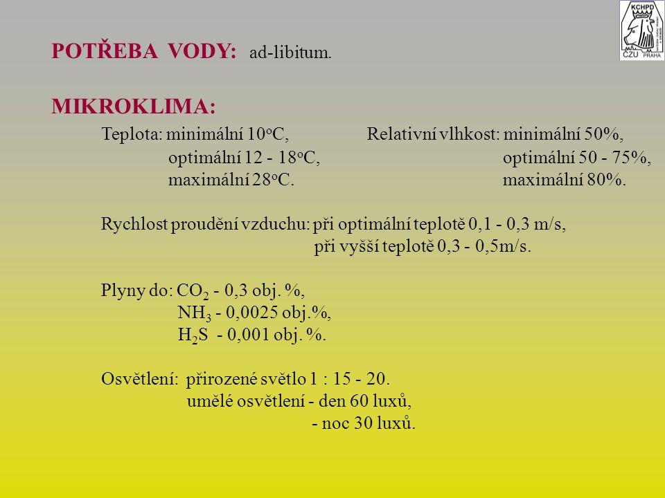 POTŘEBA VODY: ad-libitum. MIKROKLIMA: Teplota: minimální 10 o C,Relativní vlhkost: minimální 50%, optimální 12 - 18 o C, optimální 50 - 75%, maximální