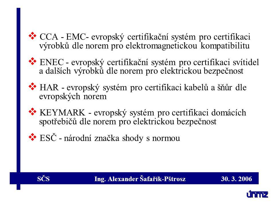 SČS Ing. Alexander Šafařík-Pštrosz 30. 3. 2006  CCA - EMC- evropský certifikační systém pro certifikaci výrobků dle norem pro elektromagnetickou komp