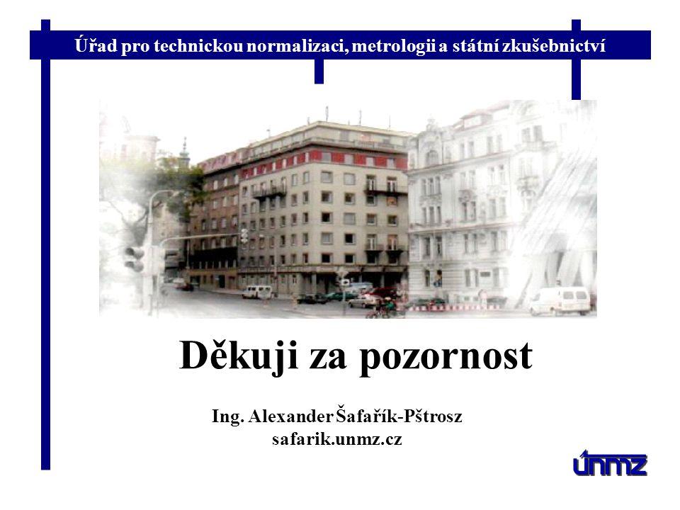 Úřad pro technickou normalizaci, metrologii a státní zkušebnictví Děkuji za pozornost Ing. Alexander Šafařík-Pštrosz safarik.unmz.cz