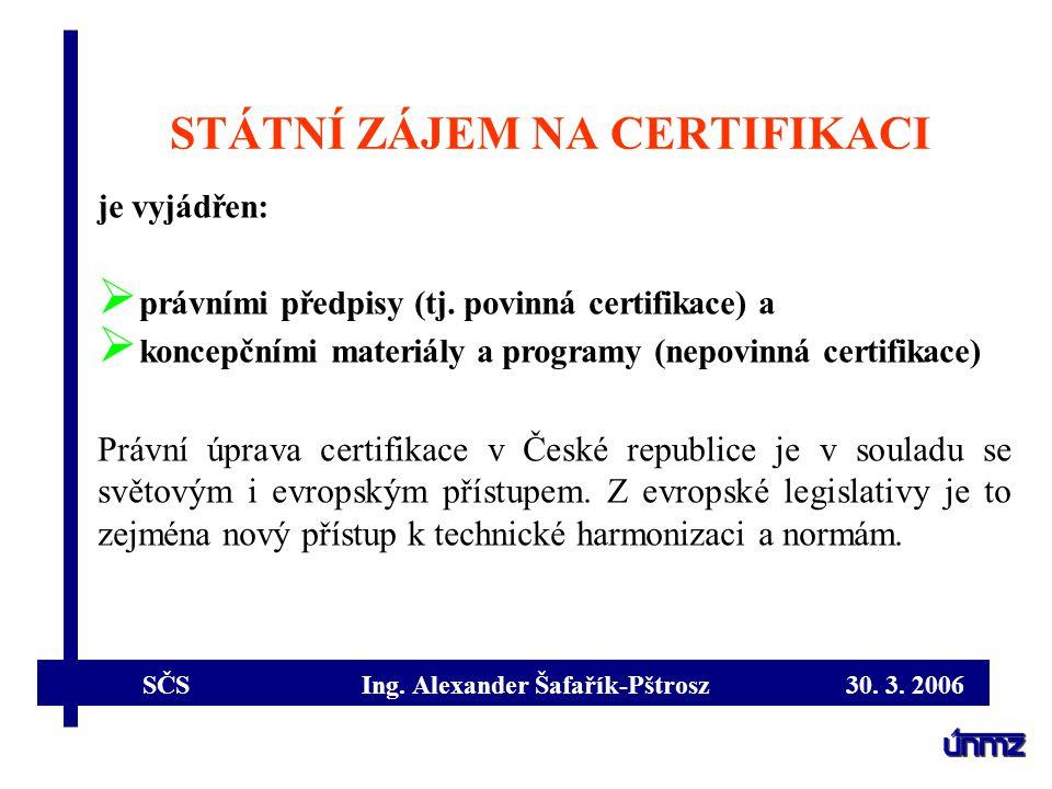 SČS Ing. Alexander Šafařík-Pštrosz 30. 3. 2006 STÁTNÍ ZÁJEM NA CERTIFIKACI je vyjádřen:  právními předpisy (tj. povinná certifikace) a  koncepčními