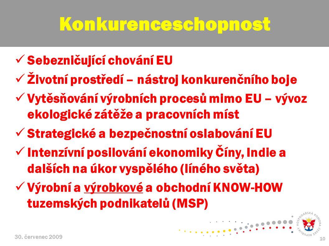 30. červenec 2009 10 Sebezničující chování EU Životní prostředí – nástroj konkurenčního boje Vytěsňování výrobních procesů mimo EU – vývoz ekologické