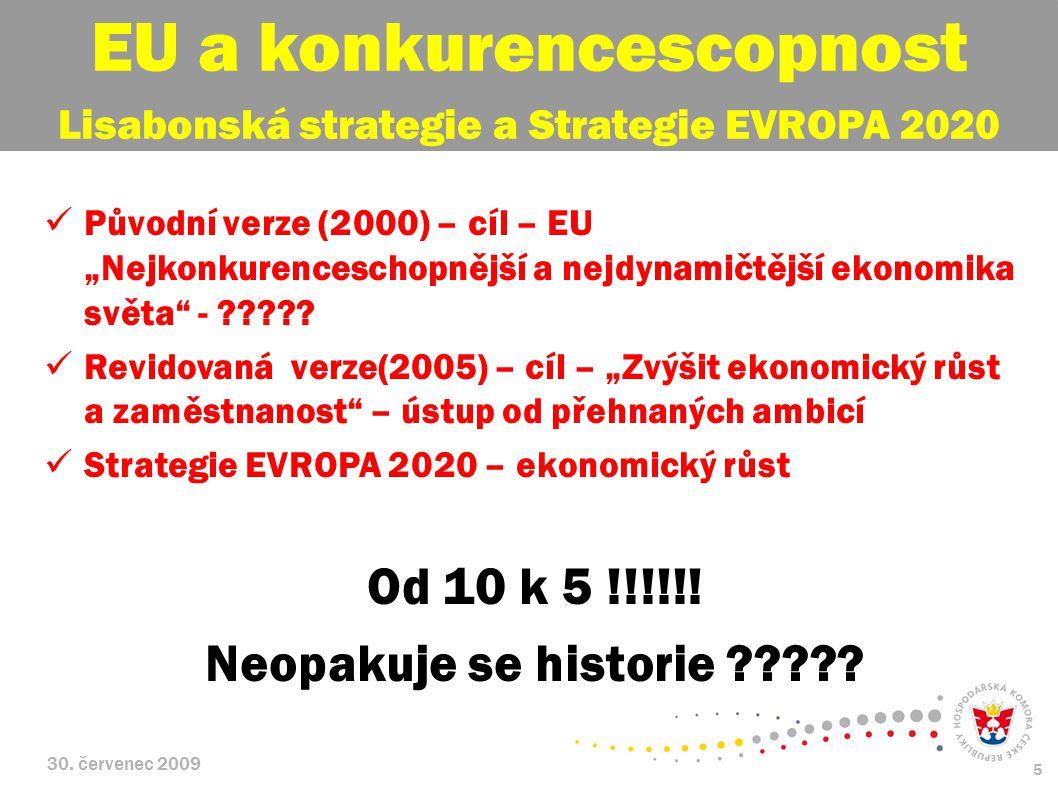 """30. červenec 2009 5 Původní verze (2000) – cíl – EU """"Nejkonkurenceschopnější a nejdynamičtější ekonomika světa"""" - ????? Revidovaná verze(2005) – cíl –"""