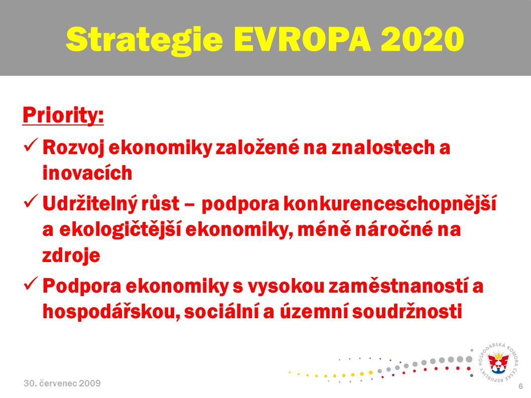 30. červenec 2009 6 Priority: Rozvoj ekonomiky založené na znalostech a inovacích Udržitelný růst – podpora konkurenceschopnější a ekologičtější ekono