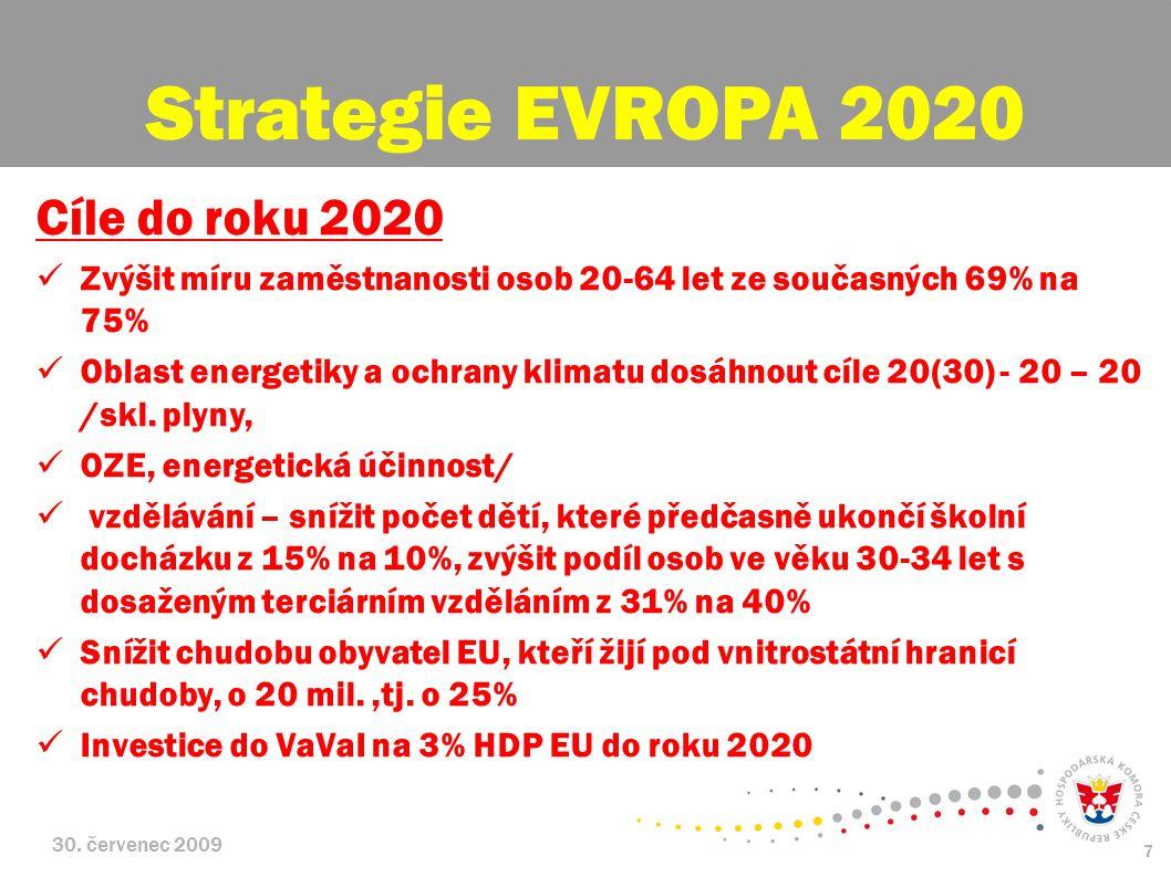 30. červenec 2009 7 Cíle do roku 2020 Zvýšit míru zaměstnanosti osob 20-64 let ze současných 69% na 75% Oblast energetiky a ochrany klimatu dosáhnout