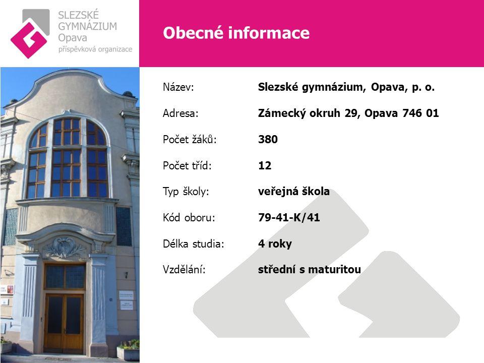 Obecné informace Název: Slezské gymnázium, Opava, p.