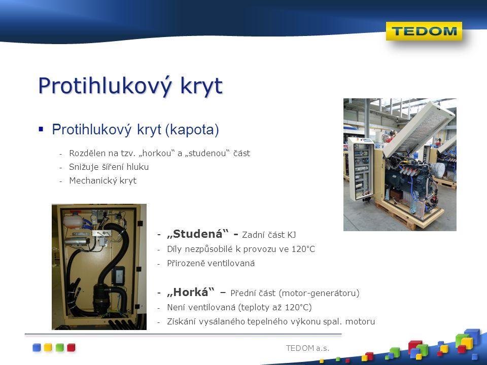 """TEDOM a.s. Protihlukový kryt  Protihlukový kryt (kapota) - Rozdělen na tzv. """"horkou"""" a """"studenou"""" část - Snižuje šíření hluku - Mechanický kryt - """"St"""