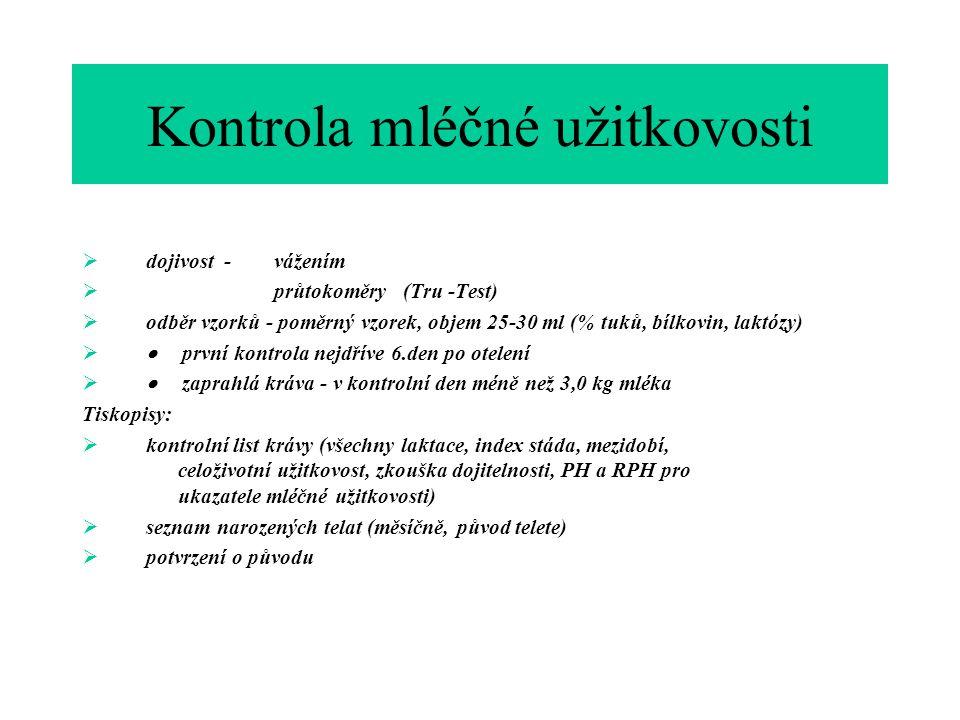 Kontrola mléčné užitkovosti  dojivost - vážením  průtokoměry (Tru -Test)  odběr vzorků - poměrný vzorek, objem 25-30 ml (% tuků, bílkovin, laktózy)