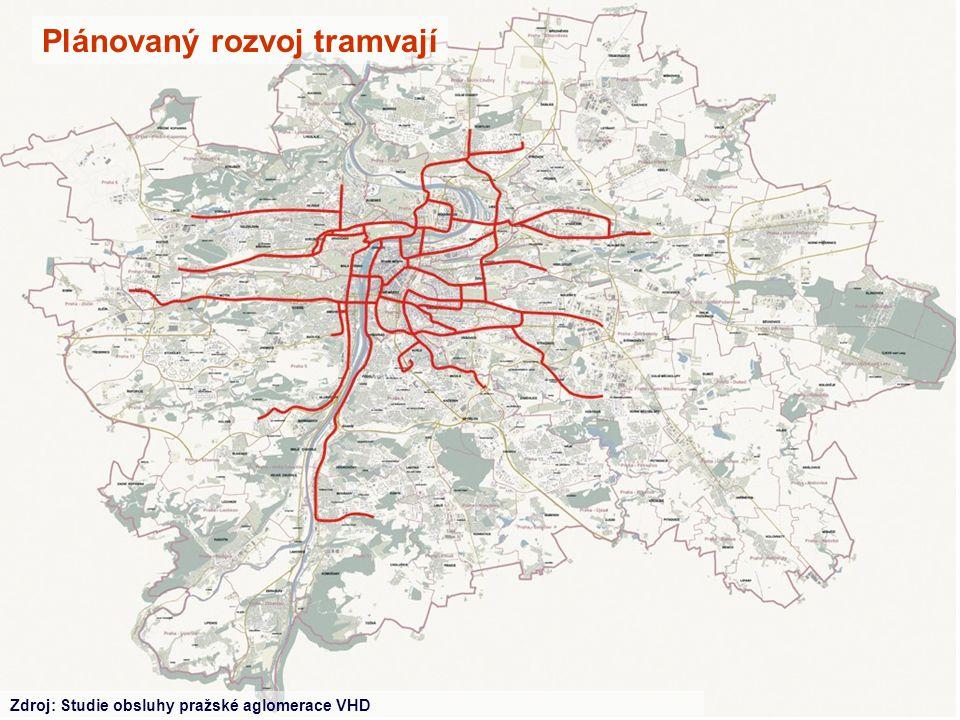 Plánovaný rozvoj tramvají Zdroj: Studie obsluhy pražské aglomerace VHD