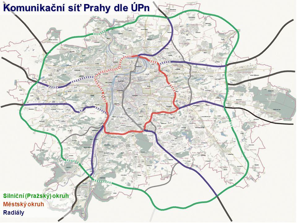 Silniční (Pražský) okruh Městský okruh Radiály Komunikační síť Prahy dle ÚPn