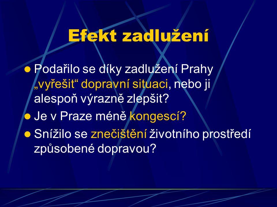 """Efekt zadlužení Podařilo se díky zadlužení Prahy """"vyřešit dopravní situaci, nebo ji alespoň výrazně zlepšit."""