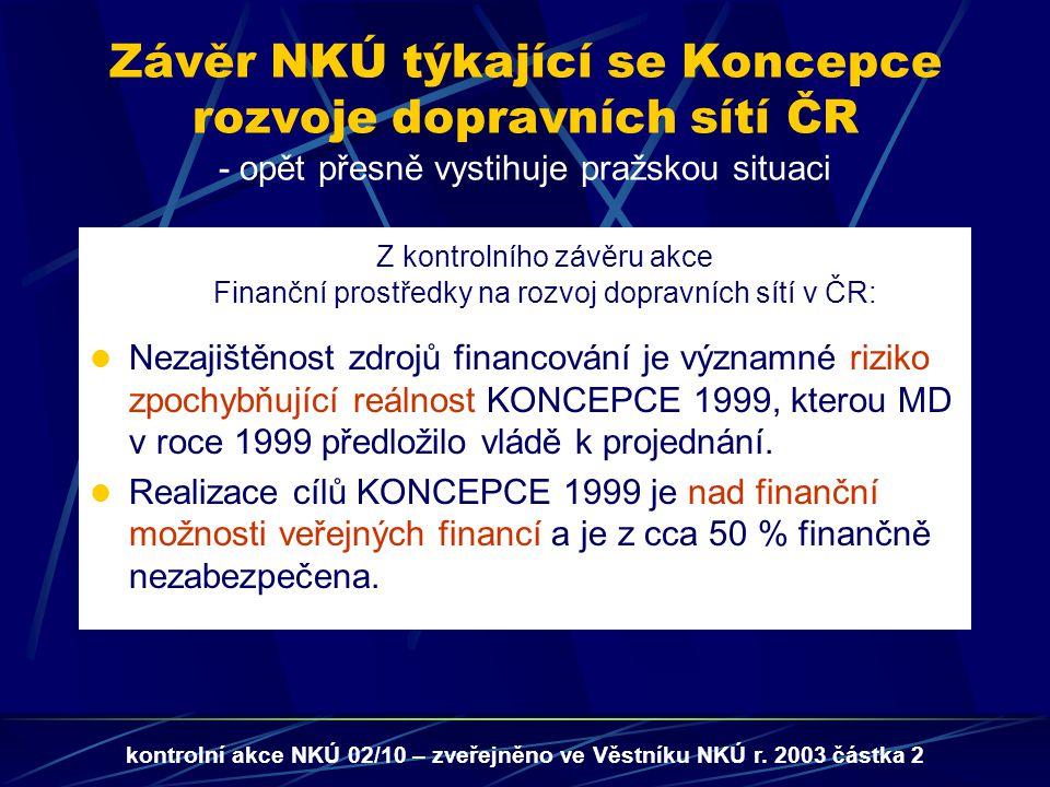 Z kontrolního závěru akce Finanční prostředky na rozvoj dopravních sítí v ČR: Nezajištěnost zdrojů financování je významné riziko zpochybňující reálnost KONCEPCE 1999, kterou MD v roce 1999 předložilo vládě k projednání.