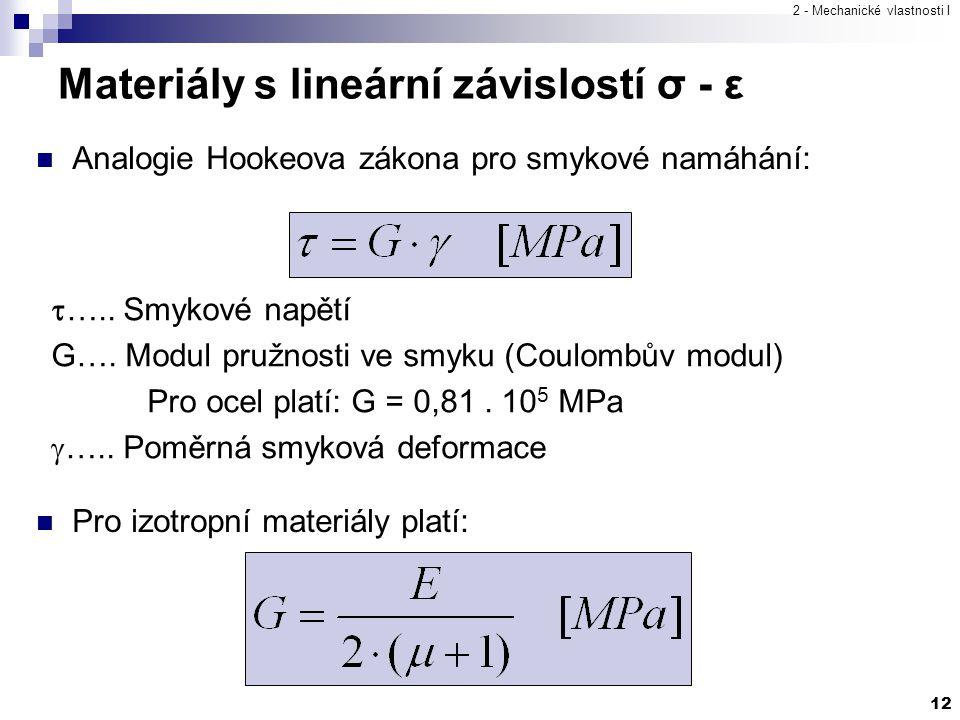 2 - Mechanické vlastnosti I 12 Analogie Hookeova zákona pro smykové namáhání:  ….. Smykové napětí G…. Modul pružnosti ve smyku (Coulombův modul) Pro