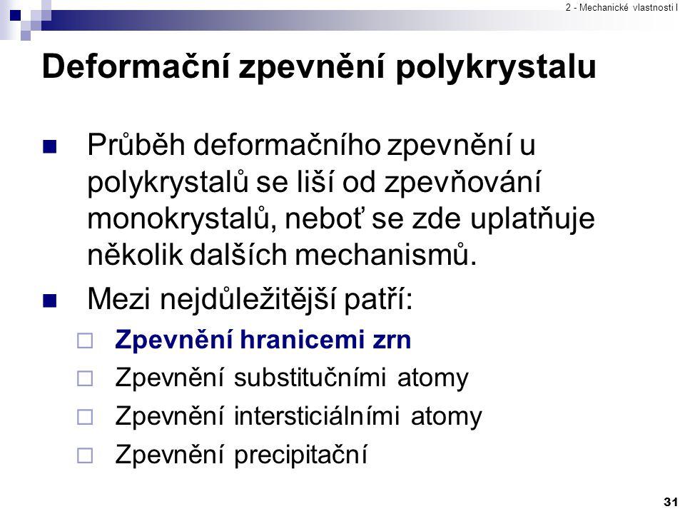 2 - Mechanické vlastnosti I 31 Deformační zpevnění polykrystalu Průběh deformačního zpevnění u polykrystalů se liší od zpevňování monokrystalů, neboť