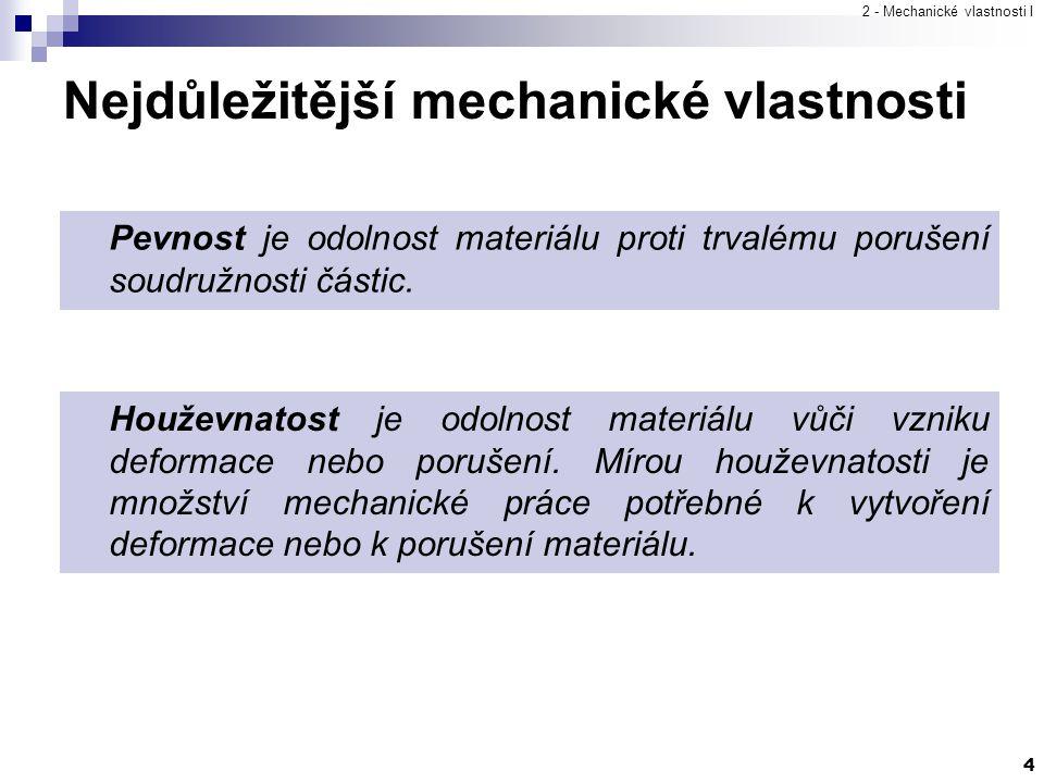2 - Mechanické vlastnosti I 4 Pevnost je odolnost materiálu proti trvalému porušení soudružnosti částic. Houževnatost je odolnost materiálu vůči vznik